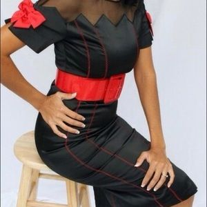Bettie Page Black Dress Red Bows & Stitching Med